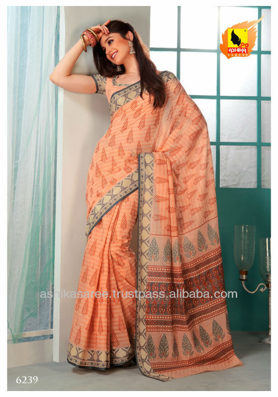 Simple and sober !! Peach color saree crafted on cotton material.