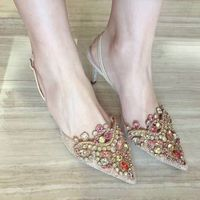 Queena Chic Gold Embroidery Lace Shoe