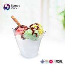 EPK fda lfgb bpa free clear glass new design disposable plastic ice cream cup