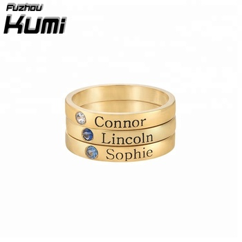 New Engraved Mother`s Jewelry 18K Gold Plated Personalized Gift Nameplate T3 rings