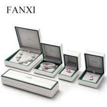 FANXI New Arrival White Leather Gift Boxes With Velvet Insert For Ring Necklace Bracelet Jewellery Packaging Custom Jewelry Box