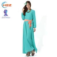 Zakiyyah 10007 2017 Dubai Import Prom Dress Kaftan Dress Made in Light Green Color Plus Size Baju Kurung With belt