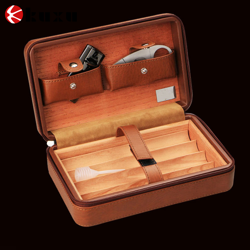 Factory wholesale cheap humidors for cigars cigar case with cutter