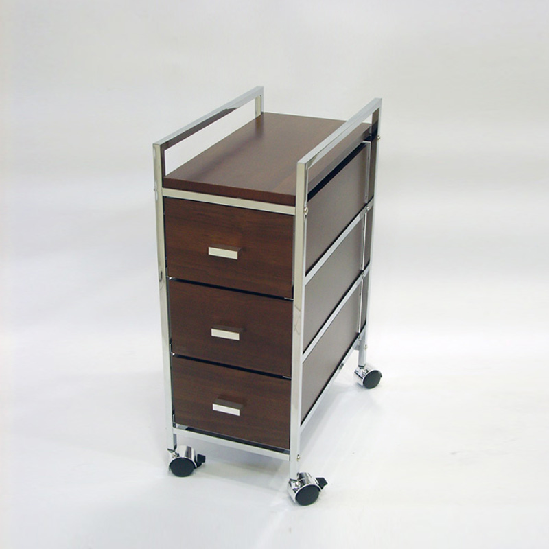3 Tier Wooden Color Storage Cart with Drawers for Home