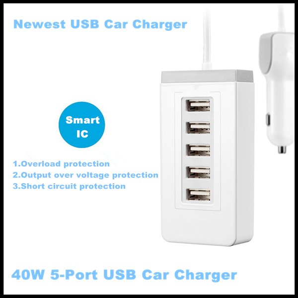 factory supply 5v 8a approved portable charger 5 port white black Mobile Phone Accessoires