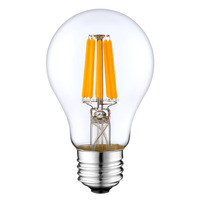 6w a19 ul cul led filament bulb, dimmable pf>0.85 cul filament led bulb, all glass dimmable led filament lamp