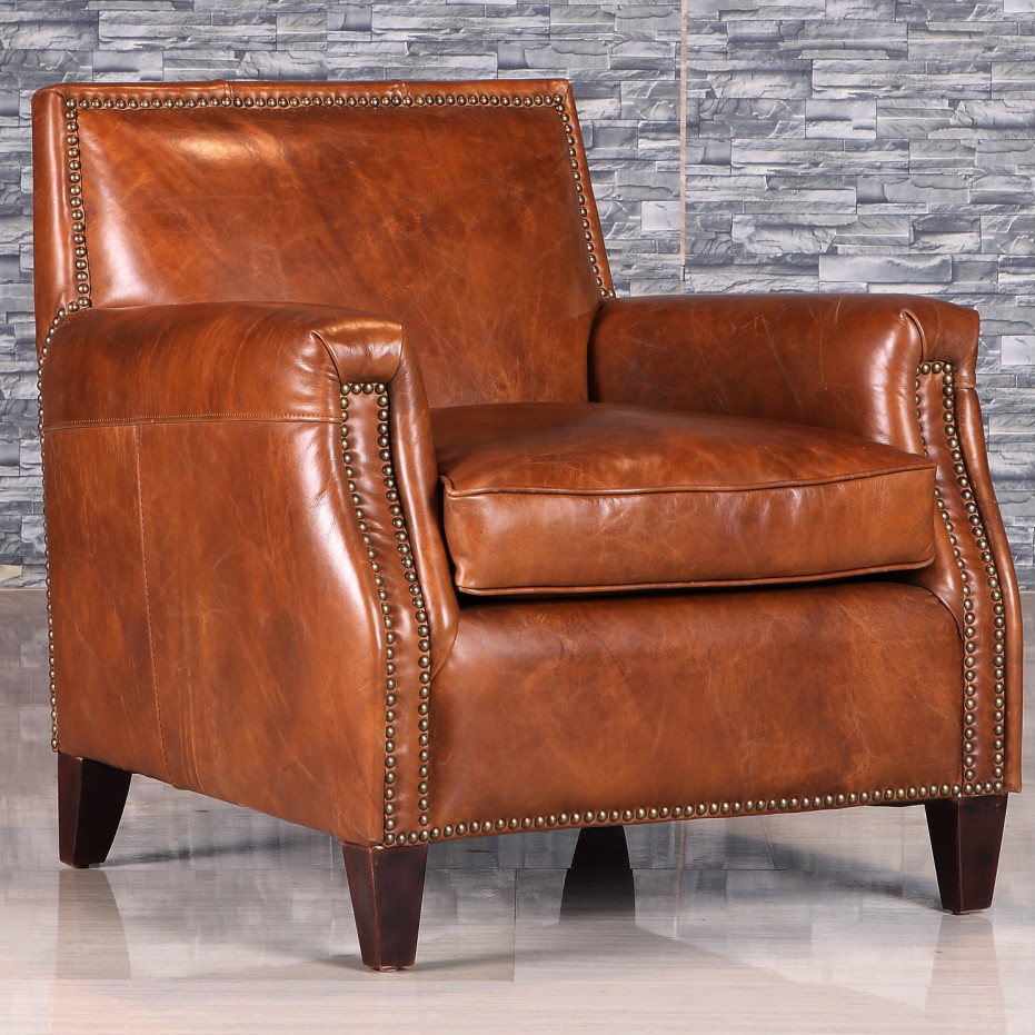 Vintage Armchair Styles: Retro Style Antique Leather Armchair With Rivet, View