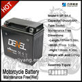 1 year warranty Bateria da motocicleta Maintenance free battery