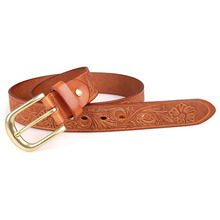 B012B Trendy Unisex Light Brown Leather Belt Dressed Belt Manufacturer