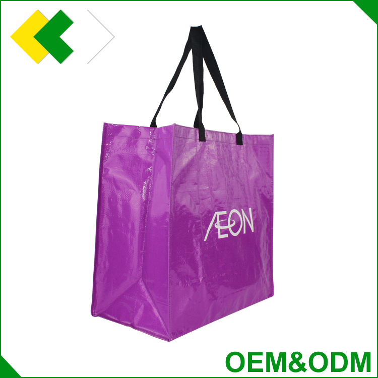 Hot sale eco-friendly fabric recycled laminaied woven shopping bag promotional custom tote pp woven bag raw material