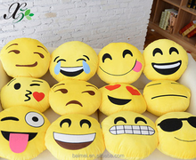 Plush whatsapp emoji pillows with round shape and yellow color