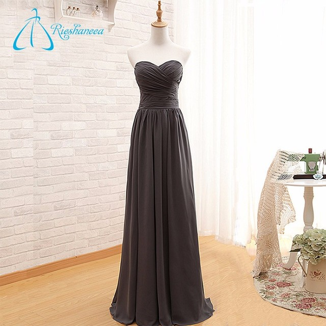 Chiffon Floor Length Pleats Long New Bridesmaid Dress 2017