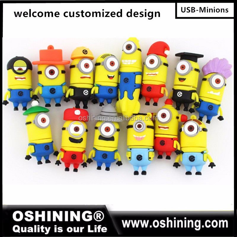 Bulk cheap promotional coperate gifts OEM minions Silicone PVC custom cartoon 2GB 4gb memory stick pendrive usb flash drive