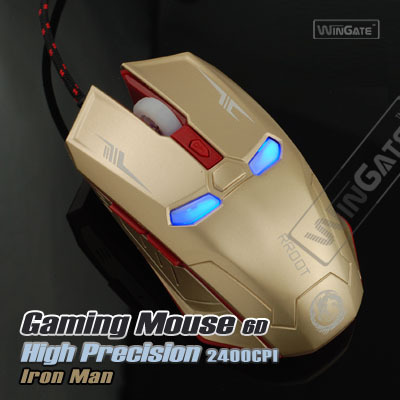 6D Button 2400DPI 7-Color Optical Adjustable Wired Gaming Usb Game Mice Mouse