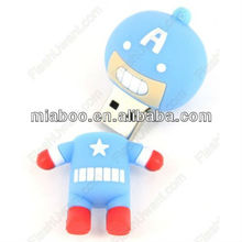 Super cute 3D rubber cartoon captain america usb, 3D cartoon superman usb 2.0 flash