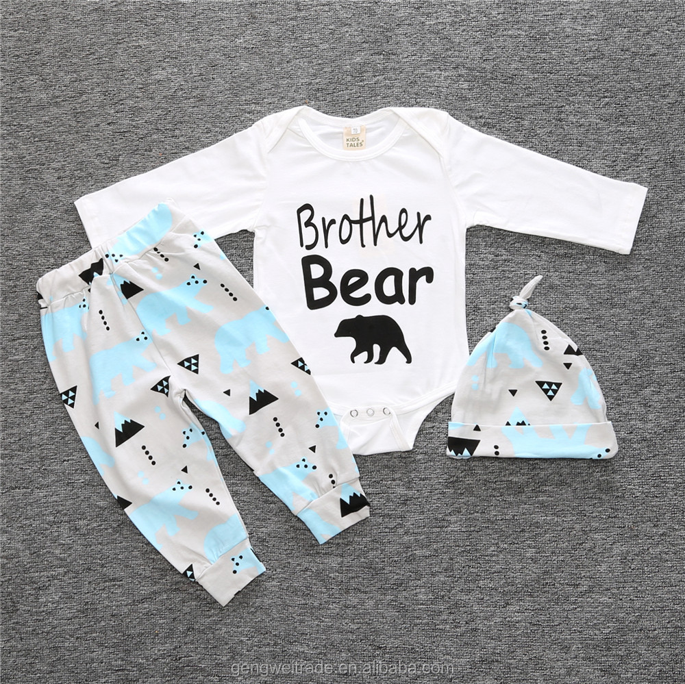 Toddler Infant Baby Boys Brother Bear Outfit Romper+Hats+Pants 3Pcs Pajamas Suit Kids Clothing Set