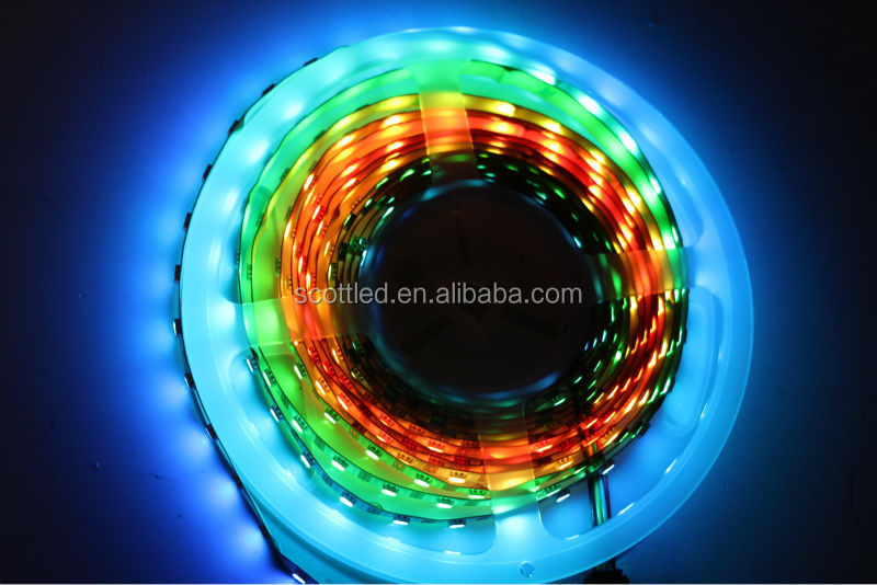 New Generation Digital LED Strips, APA102, 60LEDs/m with 60pcs WS2801 IC built-in the 5050 SMD RGB LED Chip;DC5V, White PCB