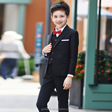 Custom high class all black trendy kids Tuxedo Business Suit