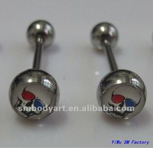 316L surgical steel surgar skull logo tongue barbell rings body piercing jewelry AMSD12081519