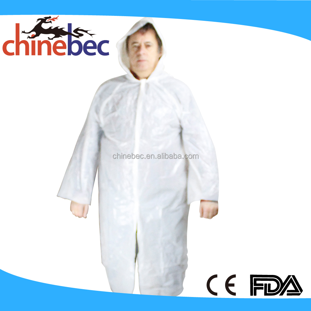 Custom White Transparent PVC PE Custom Rain Poncho Raincoat for Outside