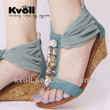 2013 wide mouth wedge sandal with gauze is transparent diamond and the zipper
