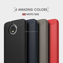 For Moto G5S Case Soft TPU Silicone Bumper Back Cover Carbon Fiber Brush Phone Cover