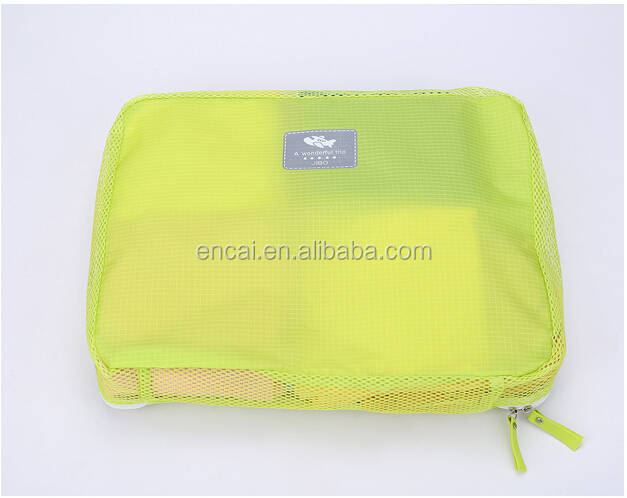 Encai New Arrival Travel Clothing Organizer Bag Set 5PCS Storage Mesh Pouch Colorful Cosmetic Bag 5pcs/set For Journey