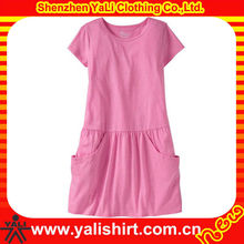 Custom fashion comfortable o-neck short sleeve casual blank hot pink dresses for kids 2013