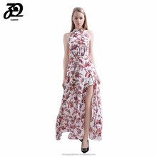 2018 Spring Summer Sexy Ladies Sleeveless Long Maxi Dress Pink Floral Printed Maxi Dress