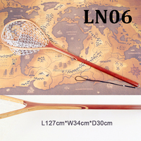 Long handle wooden fishing rubber landing net