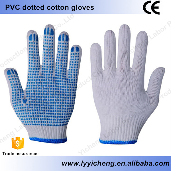 PVC soft light feeling gloves cotton dotted working gloves safety protection cheap durable construction auto repairing outdoor