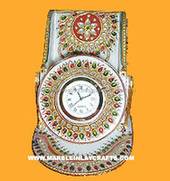 Decoration Marble Mobile Stand With Watch Gold Painting