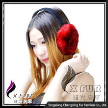 CX-EM-03D Hot Selling Genuine Rex Fur Floral Warmer Ear Muff