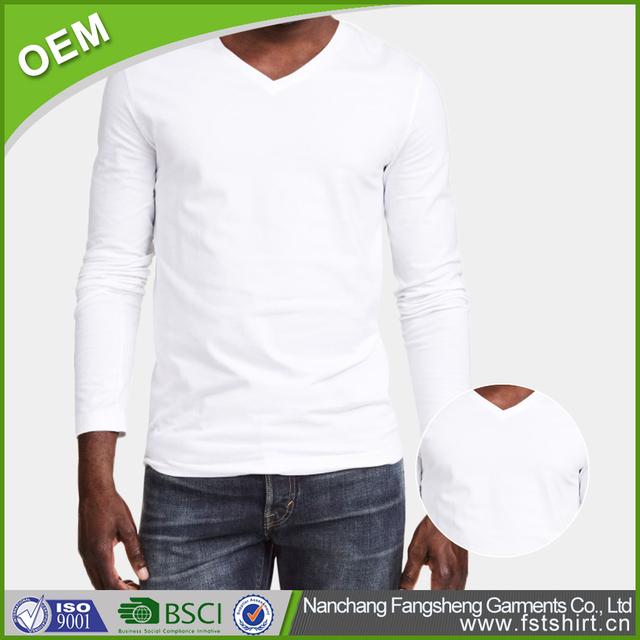 50 cotton 50 polyester white blank brand long sleeve bulk t shirts