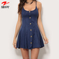 Navy Sexy Spaghetti Strap Mini Lady Dress Buttons Summer Dress