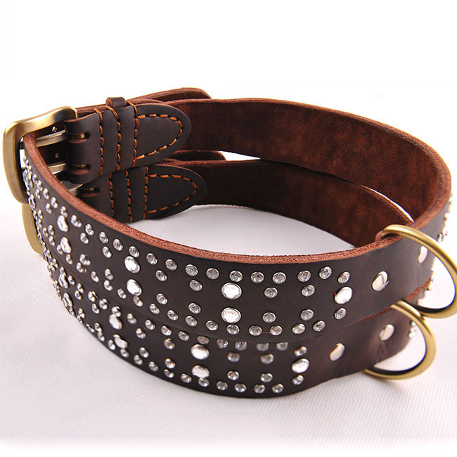 Luxury dog collar and leash leather ,rhinestone dog collar china supplier