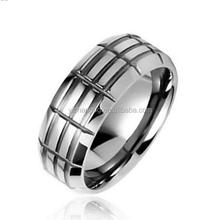 Grid Pattern Tungsten Geometric Band Ring 8mm With Free Engraving, High Polished Tungsten Power Ring For Men
