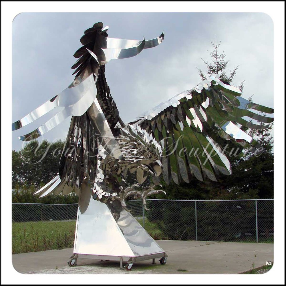Outdoor Bird Shape 304 Stainless Steel Large Animal Sculpture