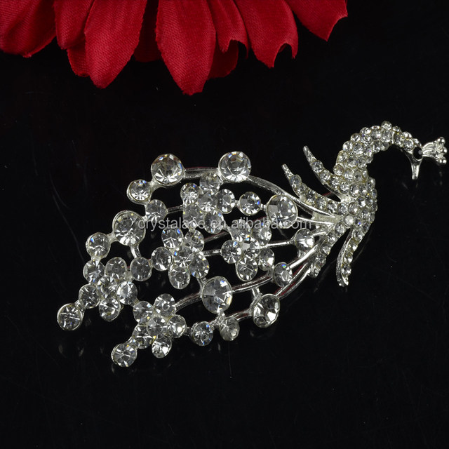 Peafowl Style Crystal Rhinestone Strass Brooch Pins, Peafowl Crystal Strass Brooch, Peafowl Crystal jewel Strass Brooch