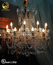 Wrought iron pendant light crystal candle lamp design
