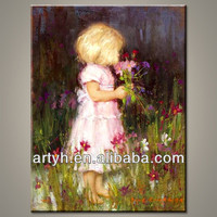 Modern oil girl pictures canvas painting