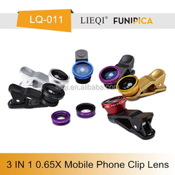 Latest 3 in 1 universal phone camera clip 0.65X WIDE ANGLE+FISH EYE+ MACRO LENS fit for smart phone