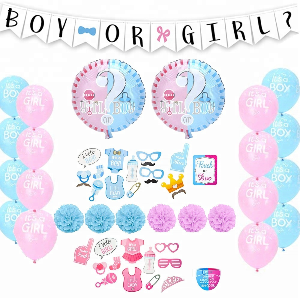 Birthday Baby Shower Decorations Boy Or Girl Banner Balloon Photo