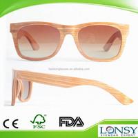 Wood frame eye glasses/sunglasses with gradual brown polarized lens