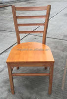 Special design restaurant metal dining chair with wood finish(FOH-WRC3)