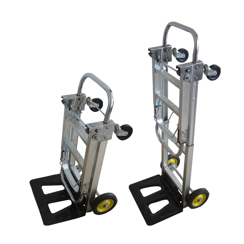 Warehouse use aluminum telescopic handle folding hand trolley truck