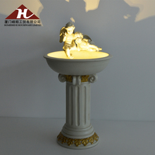 Outdoor LED Angel Fountain Resin Bird Bath