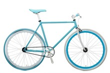 TAIWAN COLORFUL 700C HI-TEN STEEL FIXIE BIKE SINGLE SPEED BICYCLE WITH BLUE RIM