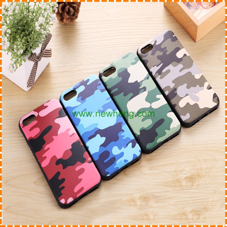 New Design Camouflage Pattern skin leather phone tpu back cover case for iphone 7plus
