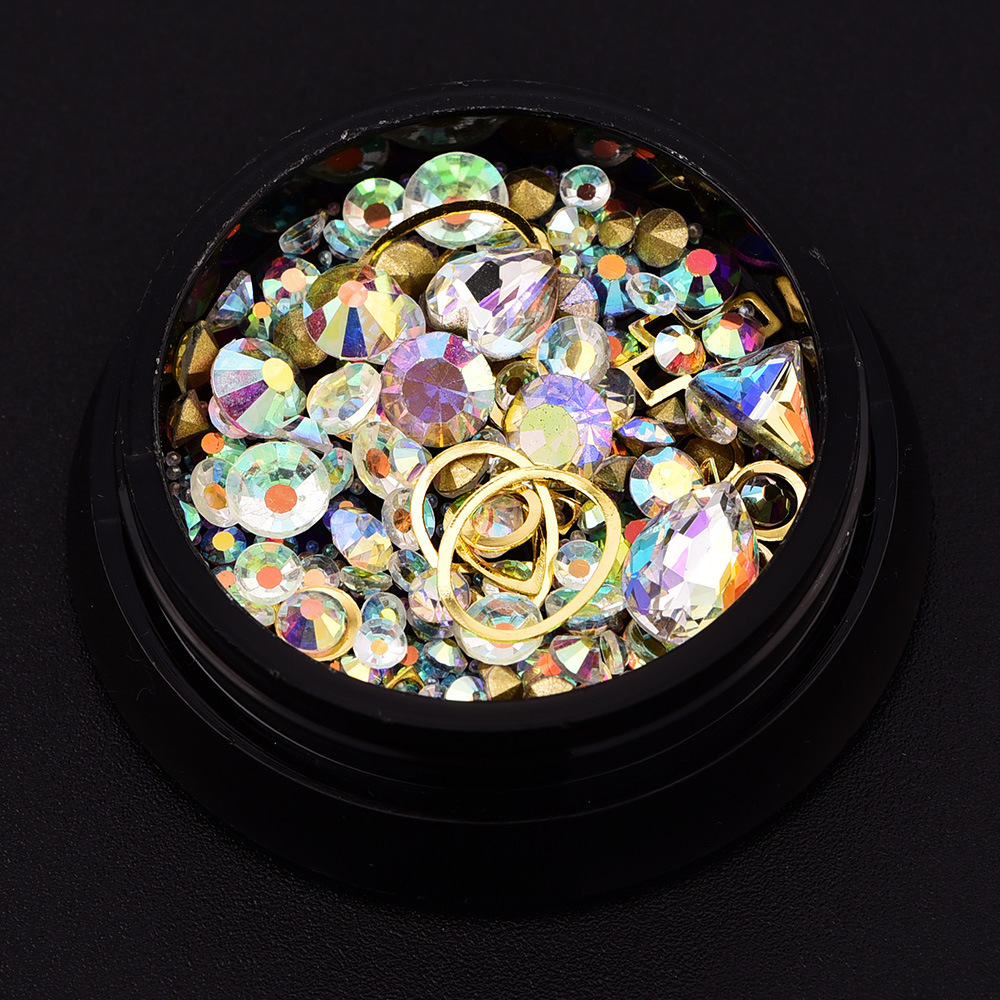 2018 new nail art 4cm black box 12 colors Symphony tip rhinstone crystal nail art decoration nail jewelry